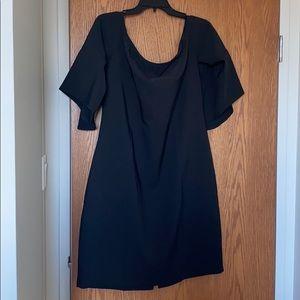 Black ruffle sleeve dress.